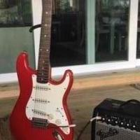 Squier Strat Electric Guitar and Amp for sale in Monticello IN by Garage Sale Showcase member cmsmith7142, posted 10/06/2018