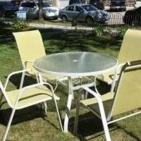 Glass Top Patio Table with 4 Chairs for sale in Chaska MN by Garage Sale Showcase member pami1964, posted 10/07/2018