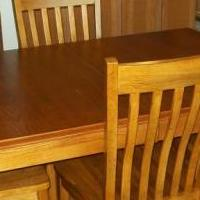 Oak table with 6 chairs and leaf for sale in Deshler OH by Garage Sale Showcase member 4Betty, posted 05/12/2019