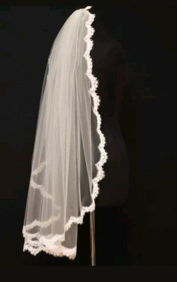 Wedding Bridal Veils Lace 1 Layer White