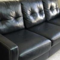 Black leather couch for sale in Greene County NY by Garage Sale Showcase member Bettydan, posted 01/18/2019
