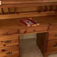 Pine roll top desk for sale in Roscommon MI by Garage Sale Showcase member Lmeklund, posted 06/14/2019