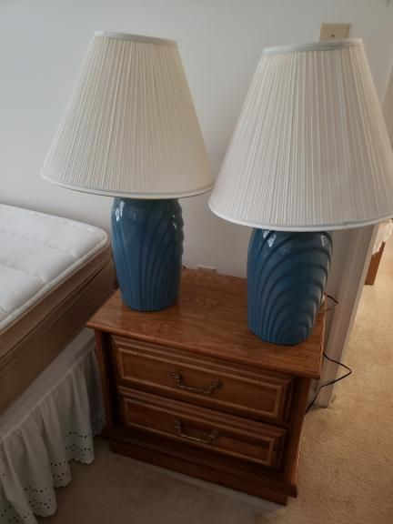 Two blue end table lamps for sale in Nottingham MD