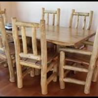 Rustic Hard Wood Table with 6 chairs for sale in Tabernash CO by Garage Sale Showcase member winterparkhighlands, posted 08/12/2019