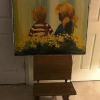 Antique Columbia School Desk with Vintage Painting for sale in Columbia MD by Garage Sale Showcase member nasvfs, posted 08/19/2019