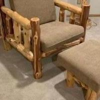 Log Chair and Ottoman for sale in Rice Lake WI by Garage Sale Showcase member GreatStuff, posted 07/22/2019
