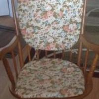 Wooden rocking chair for sale in Henrietta NY by Garage Sale Showcase member Jennysuebrew, posted 07/23/2019