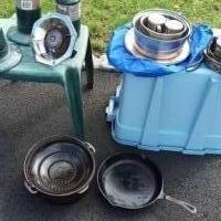 Camping Cooking Gear Stainless Coleman CastIron Too for sale in Somerset NJ by Garage Sale Showcase member Vandy7, posted 04/18/2019