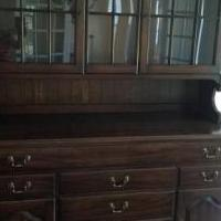 Walnut Henkle Harris Dining Server w/Glass Hutch Top for sale in New Hope PA by Garage Sale Showcase member junemoonbeam, posted 06/16/2019