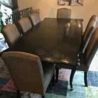 Dining table 8 mgbw upholstered chairs for sale in Englewood NJ by Garage Sale Showcase member spencerd, posted 05/08/2019