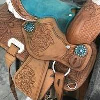 HAND MADE.  BLUE LEATHER SADDLE TACK WESTERN YOUTH KIDS SADDLE TACK SET for sale in Bogart GA by Garage Sale Showcase member Maria, posted 09/18/2019