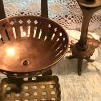 Victorian brass and copper wall mount soap and sponge holder for sale in Madisonville TN by Garage Sale Showcase member Tammi, posted 12/14/2019