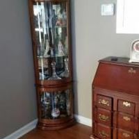Desk and Curio Cabinet for sale in Pinehurst NC by Garage Sale Showcase member WalterH, posted 12/28/2019
