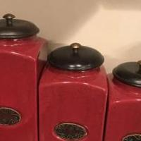 Pier Imports Red 3 Piece Ceramic Canisters for sale in Hillsborough NJ by Garage Sale Showcase member Yardley, posted 11/30/2019