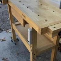 Oak workbench with drawer power strip 2 vises for sale in Pinehurst NC by Garage Sale Showcase member Billpace1950, posted 01/01/2020