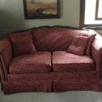 2 Cushion Oak Trimmed Couch for sale in Iowa City IA by Garage Sale Showcase member TomTom, posted 11/08/2019