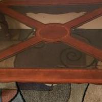 Coffee Table, Cherry Finish with Glass Inserts for sale in Cushing WI by Garage Sale Showcase member Eagle 1, posted 05/23/2020