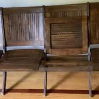 4-Seater Slatted Pew Church Chairs for sale in Oakfield NY by Garage Sale Showcase member Terry's, posted 07/17/2020