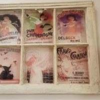 Screen Printed Window Pane. Retro Champagne Ads for sale in Sterling Heights MI by Garage Sale Showcase member BandTstuff, posted 02/24/2020
