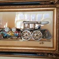 "3-D, Train Engine ""sculpture"".  Framed. for sale in Sterling Heights MI by Garage Sale Showcase member BandTstuff, posted 02/23/2020"