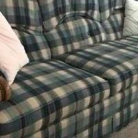 Sofa green & tan for sale in Rutland VT by Garage Sale Showcase member Donterry, posted 02/27/2021