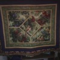 Birds and Fruit Quilted Throw for sale in Baker County FL by Garage Sale Showcase Member Ruths Handmaid Crafts And More