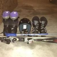 Youth Skis, poles, boots and helmet for sale in Berrien County MI by Garage Sale Showcase Member Bethfraz