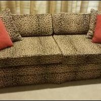 Mid-Century Couch Custom Leopard Print for sale in Aledo TX by Garage Sale Showcase member Bumsted1, posted 08/25/2018