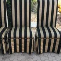 4 Black & tan dining room chairs for sale in Naples FL by Garage Sale Showcase member 1946lucy, posted 10/04/2018