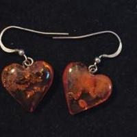 Authentic Amber Heart Pierced Earings for sale in Royal Oak MI by Garage Sale Showcase member FurNace25, posted 04/25/2018