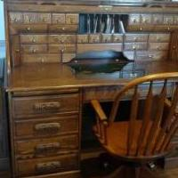 Oak roll top desk with chair. for sale in Mount Blanchard OH by Garage Sale Showcase member Jchester, posted 06/07/2018