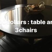 Round Dinner table and 3dinning chairs for sale in Drexel Hill PA by Garage Sale Showcase member Bijouti, posted 05/27/2018