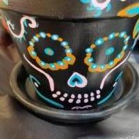 Day of the dead handpainted clay pots set of 2 for sale in Lubbock TX by Garage Sale Showcase member Kwill74, posted 09/23/2018