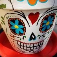 Day of the dead handpainted clay pot planter for sale in Lubbock TX by Garage Sale Showcase member Kwill74, posted 09/23/2018