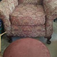 Chair and foot stool for sale in Bryant AR by Garage Sale Showcase member jewhit.ca, posted 03/30/2018