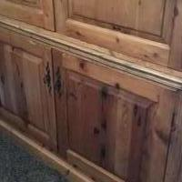 Queen Pine Poster Bed w Matching Armoire for sale in Alpharetta GA by Garage Sale Showcase member kd2018, posted 03/25/2018