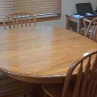 Oak oval table/chairs, Oak TV Trays/ for sale in Stanwood IA by Garage Sale Showcase member da.hughes1954@gmail.com, posted 07/12/2018