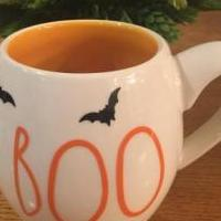 Rae Dunn Original Mug - stencil added Halloween eady for sale in La Porte IN by Garage Sale Showcase member 4phans, posted 09/26/2019