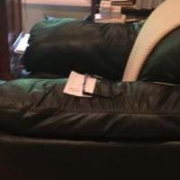 Overstuffed black leather chair and matching ottoman for sale in Edison NJ by Garage Sale Showcase member Molinaro1234, posted 07/05/2018