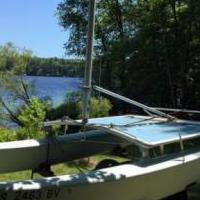 1979 Hobie Cat 16' Catamaran with Trailer for sale in Lake Nebagamon WI by Garage Sale Showcase member Debbieatthelake, posted 07/16/2018